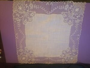 Antique Ornate Needle Lace Embroidered Floral Linen Bridal Wedding Handkerchief