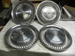 1971 1972 Cadillac 15 Inch Hub Caps Wheel Covers Nice Cool Wow Vintage Set Of 4