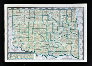1944 Geographical Map Oklahoma City Tulsa Guthrie Tahlequah Ada Enid Muskogee