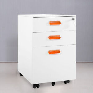 3 Drawer Mobile File Cabinet With Lock Metal Storage Organizer Home Office