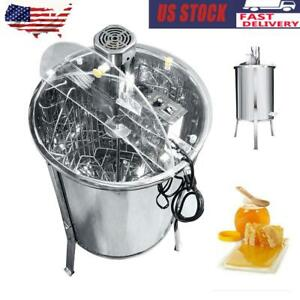 4 Frame Stainless Steel Bee Honey Extractor Electric Beehive Motor Equipment New