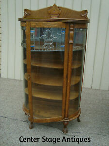 60106 Antique Oak Leaded Glass Bow Glass China Cabinet Curio