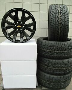 22 Chevrolet Suburban Factory Style Gloss Black Wheels 190gb Tires 3054022