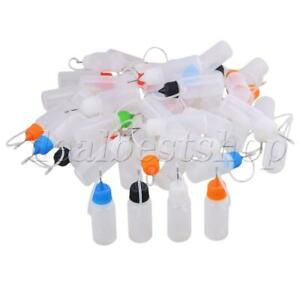 50x Empty 10ml Squeezable With Needle Tip Liquid Dropper Bottles W colorful Cap