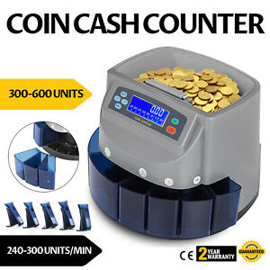 Auto Electronic Money Coin Cash Currency Counter Counting Sorter Machine Dollas