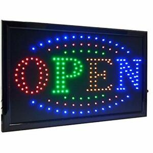 21 5 x13 Large High Visible Led Light Business Open Sign With Chain On off 4