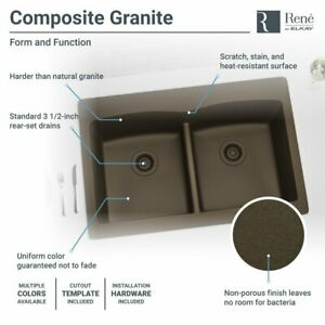 R3 2007 Double Equal Bowl Low divide Topmount Quartz Sink Two Grids And