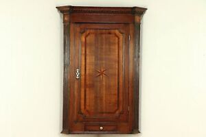 English Antique Hanging Corner Cabinet Or Cupboard Marquetry Star 29989