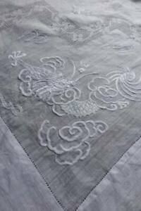 Antique White Pina Linen Hand Embroidered Tablecloth Dragons 38 Sq