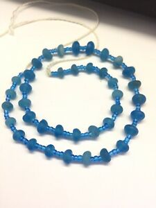 39 Ancient Roman Glass Old Round Beads Patina Strand Necklace