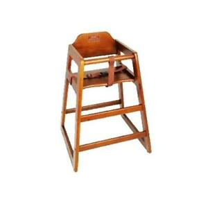 Wooden Restaurant Style High Chair Child Seat Dark Wood Color