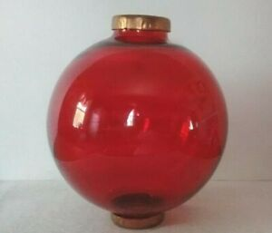 Red Large Glass Lightning Rod Ball Caps Roof Home Cabin Decor
