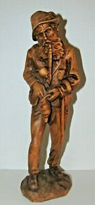 Black Forest Germany Switzerland Wood Carving Old Man Pipe Figure 10