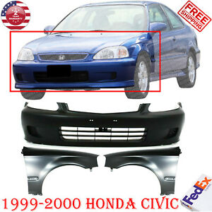 Front Bumper Cover Primed Primed Steel Fender Lh Rh For 1999 2000 Honda Civic