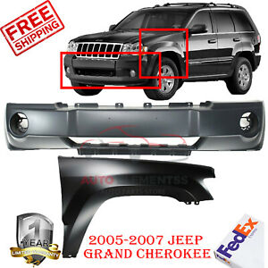 Front Bumper Cover Rh Fender For 2005 2007 Jeep Grand Cherokee 2pc Primed