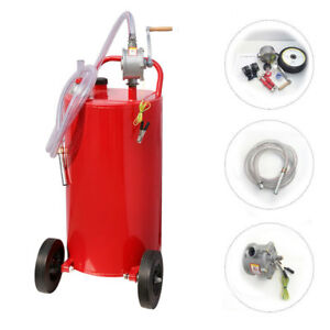 35 Gallon Gasoline Gas Storage Caddy Diesel Fuel Transfer Tank Rotary Pump Hose
