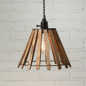 Country New Slatted Wood Hanging Light Nice