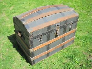 Antique Humpback Dome Top Steamer Trunk