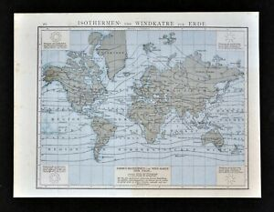1881 Andrees World Map Isotherms Wind Climate America Australia Asia Europe