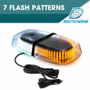 240 Led Amber White Roof Top Bar Enforcement Emergency Flashing Strobe Light 15w