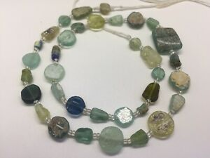 Ancient Old Roman Glass Beads Raund Mixed Size 35 Pcs For Necklace Roman Glass