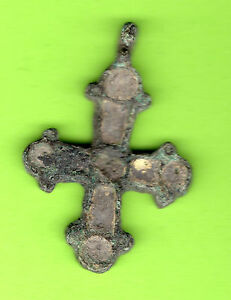 Russia Kiev Type Bronze Enamel Cross Pendant Viking Time 10 12th Rare 718