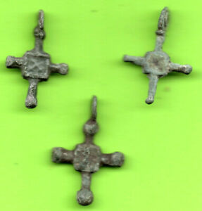 Lot Of 3 Ancient Viking Enamel Bronze Cross Kiev Russia Ukraine Ca 1100 Rare 73