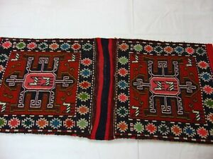 Authentic Hand Woven Middle East Wool Leather Kilim Tribal Saddle Bags 35