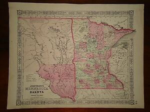 Vintage 1864 Dakota Territory Minnesota Map Old Antique Original Atlas Map 824