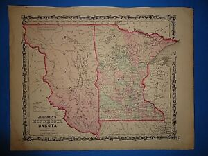 Vintage 1861 Dakota Territory Minnesota Map Old Antique Original Map 102218