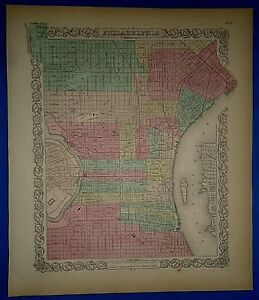 Vintage 1857 Philadelphia Map Old Original Hand Colored Colton S Atlas