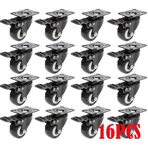 16 Pcs Swivel Caster Rubber Wheel Steel Top Plate Ball Load Capacity 143lb wheel