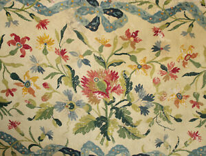 Tapestry Antique French Floral Ribbon Gros Point 18th Century Wool Hemp Aged