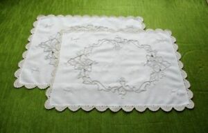 Pr Tray Cloths Hand Embroidered Roses Crochet Edge
