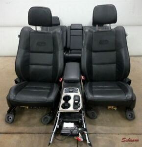 2016 Jeep Grand Cherokee Overland Seat Set W Console Oem Black Leather 2002083