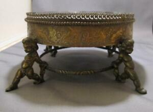 Figural Naked Cupids Cherubs Bronze Brass Pedestal Lamp Base