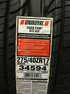 2 New 275 40 17 Uniroyal Tiger Paw Gtz A S Tires