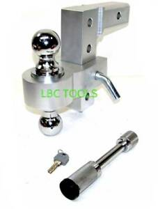 6 Aluminum Adjustable Trailer Hitch 2 Receiver Dual Balls 2 2 5 16 W Hitch