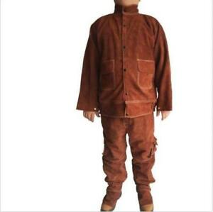 Leather Welding Brown Jacket Coat Trousers Protective Clothing Suit For Welder D