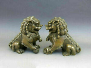 10 Inch Chinese Copper Animal Feng Shui Foo Dog Lion Town Housestatue Pair