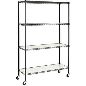 4 Tier 72x48x18 Rolling Steel Layer Shelving Storage Shelf Rack Liners Casters