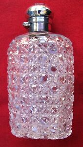 Minty Small Antique Quality Cut Crystal Silver Top Flask Hallmarked London 1888