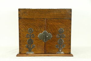 Victorian Oak Antique Liquor Cigar Case Bar Cabinet 4 Cut Decanters 31147