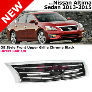 Front Top Grille For 2013 2015 Nissan Altima Sedan Oe Style With Chrome Trim
