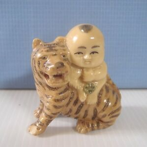 Vintage Hand Carved Japanese Netsuke Boy On Tiger Late 1900s Cast Resin Unused