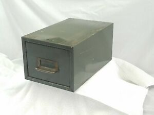 Vtg Pronto Steel Metal Army Green Library Drawer File Card Cabinet Industrial