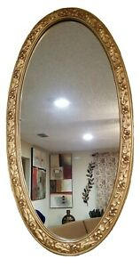 Decorative Resin Oval Wall Mirror In Detailed Ornate Gold Frame 36 5 19