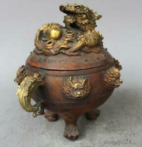 7 Chinese Copper Gilt Nine Dragon Beast Incense Burner Statue