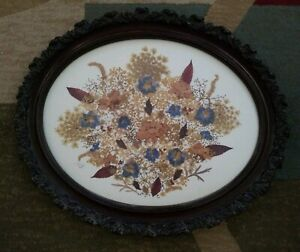 Beautiful Large Oval Framed Dried Flower Arrangement Signed Dated 1987