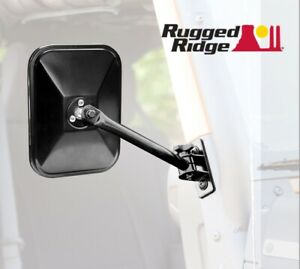 11025 12 Rugged Ridge Quick Release Black Rectangle Side Mirrors For Wrangler